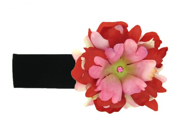 Black Soft Headband with Red Pink Small Peony