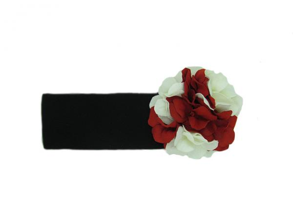 Black Soft Headband with Red White Small Geraniums
