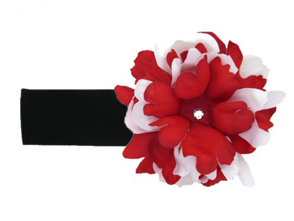 Black Soft Headband with Red White Small Peony