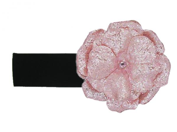 Black Soft Headband with Sequins Pale Pink Rose