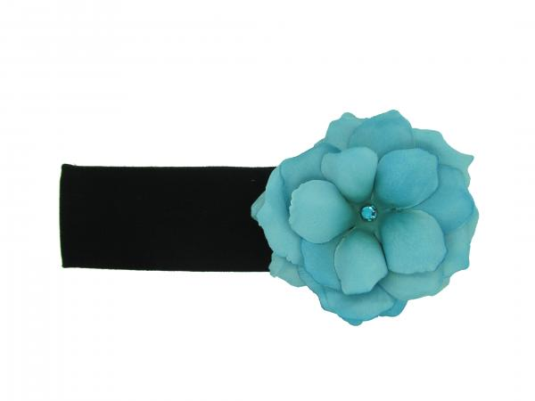 Black Soft Headband with Teal Small Rose