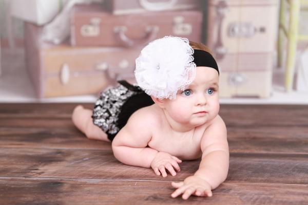 Black Soft Headband with White Lace Rose
