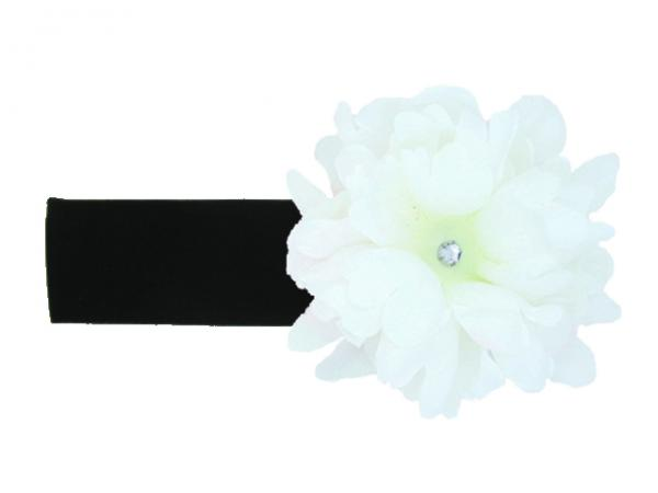Black Soft Headband with White Small Peony