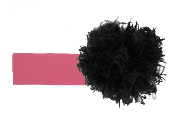 Candy Pink Soft Headband with Black Small Curly Marabou