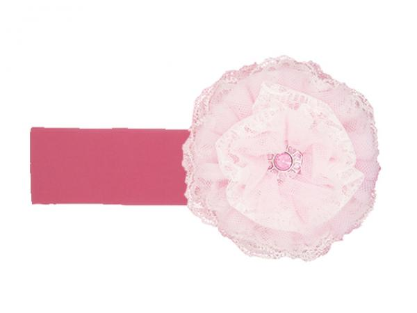 Candy Pink Soft Headband with Pale Pink Lace Rose