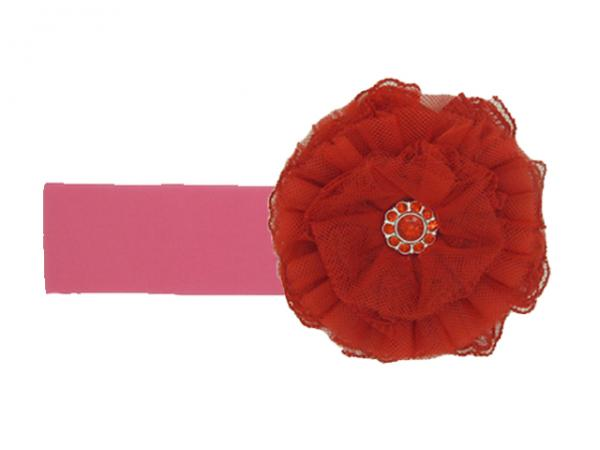 Candy Pink Soft Headband with Red Lace Rose