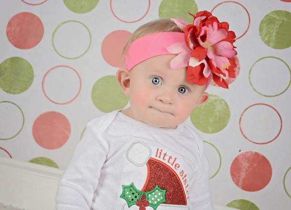 Candy Pink Soft Headband with Red Pink Small Peony
