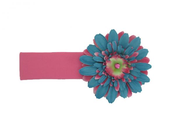 Candy Pink Soft Headband with Teal Candy Pink Daisy