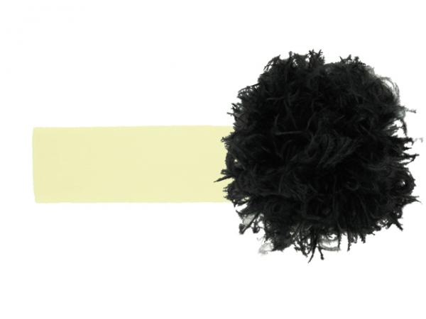 Cream Soft Headband with Black Small Curly Marabou