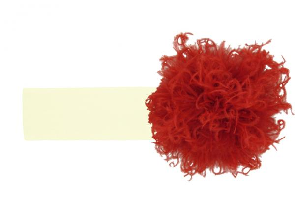 Cream Soft Headband with Red Small Curly Marabou