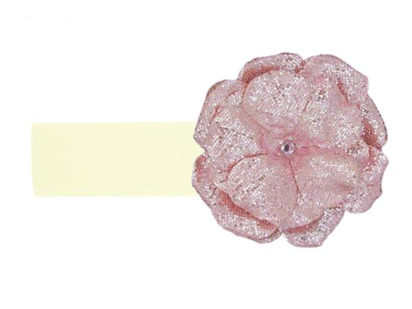 Cream Soft Headband with Sequins Pale Pink Rose