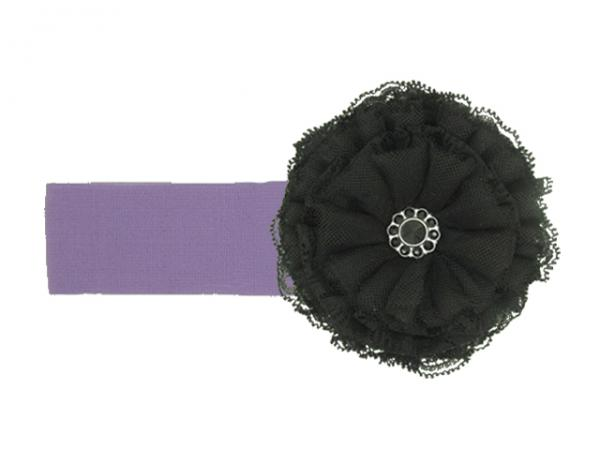 Lavender Soft Headband with Black Lace Rose