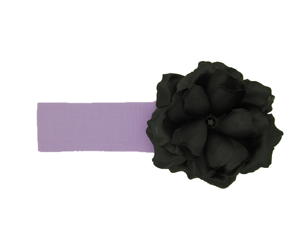 Lavender Soft Headband with Black Small Rose