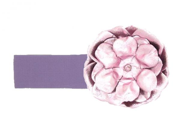 Lavender Soft Headband with Metallic Pale Pink Rose