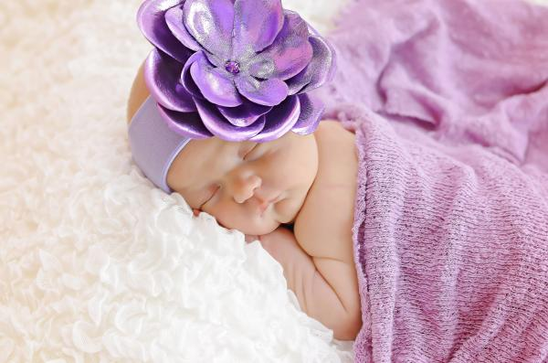 Lavender Soft Headband with Metallic Purple Rose
