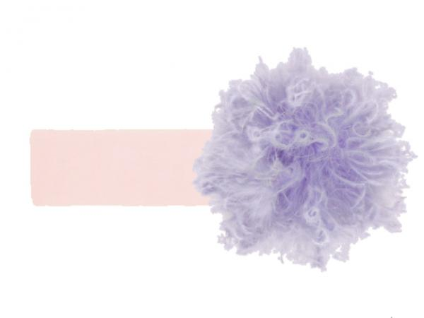 Pale Pink Soft Headband with Lavender Small Curly Marabou