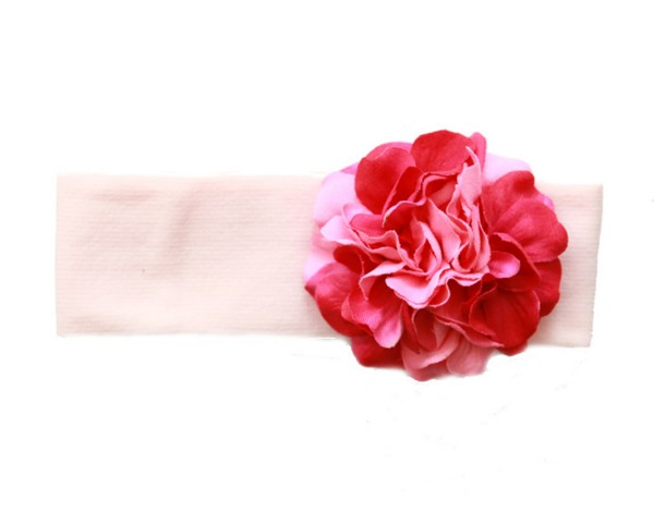 Pale Pink Soft Headband with Pink Raspberry Small Geraniums
