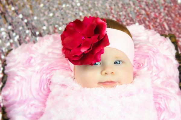 Pale Pink Soft Headband with Raspberry Small Rose