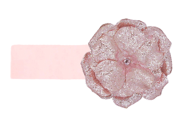 Pale Pink Soft Headband with Sequins Pale Pink Rose