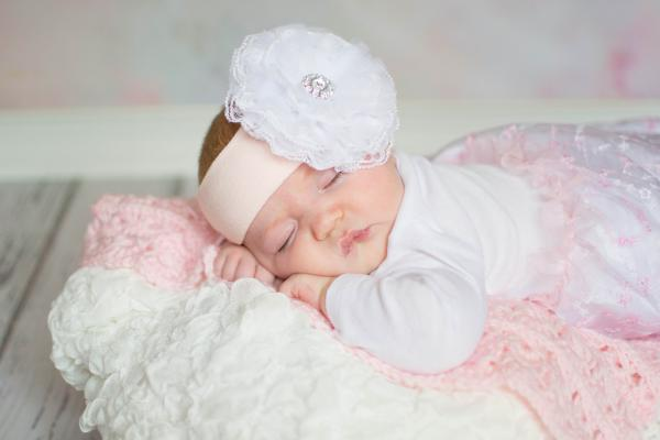 Pale Pink Soft Headband with White Lace Rose