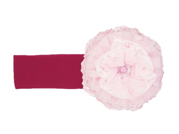 Raspberry Soft Headband with Pale Pink Lace Rose