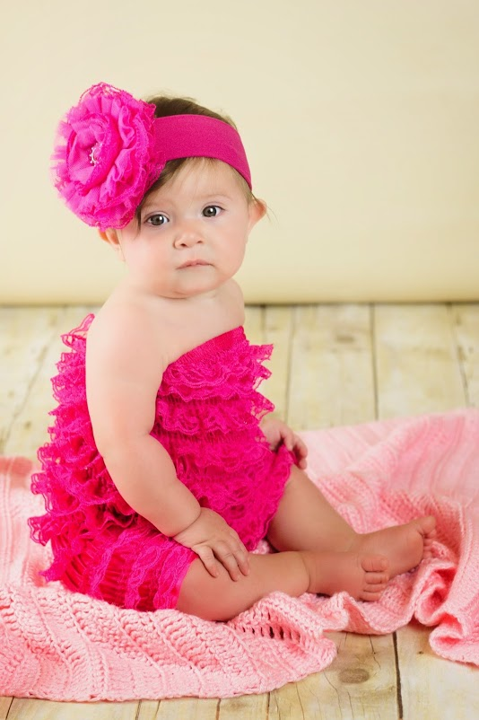 Raspberry Soft Headband with Raspberry Lace Rose