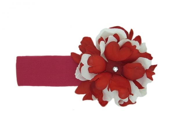 Raspberry Soft Headband with Red White Small Peony