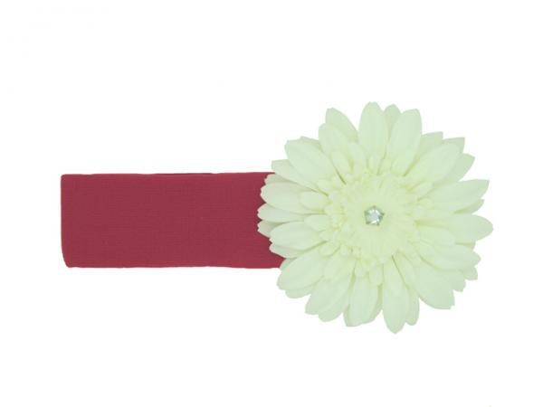 Raspberry Soft Headband with White Daisy