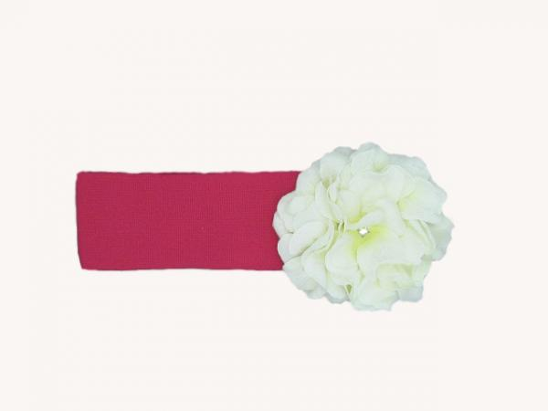 Raspberry Soft Headband with White Small Geraniums