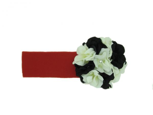 Red Soft Headband with Black White Small Geraniums