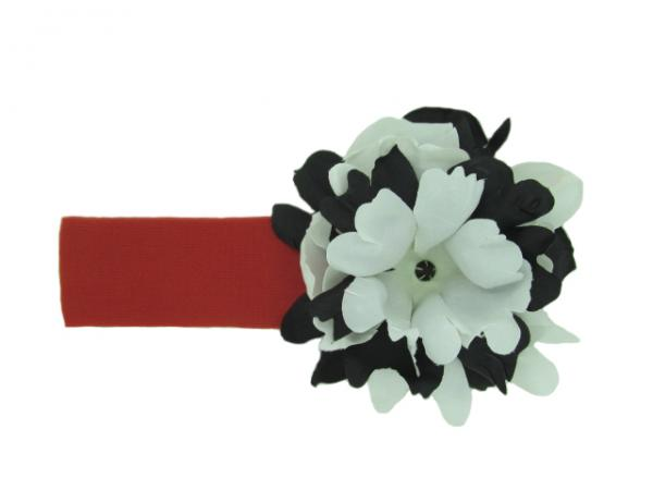 Red Soft Headband with Black White Small Peony