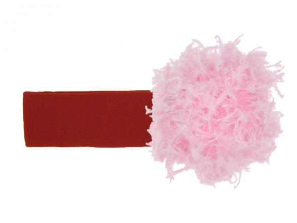 Red Soft Headband with Candy Pink Small Curly Marabou