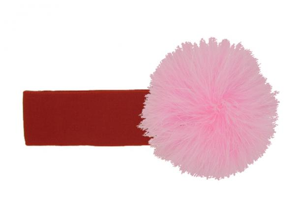 Red Soft Headband with Candy Pink Small Regular Marabou