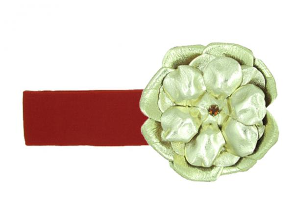 Red Soft Headband with Metallic Gold Rose