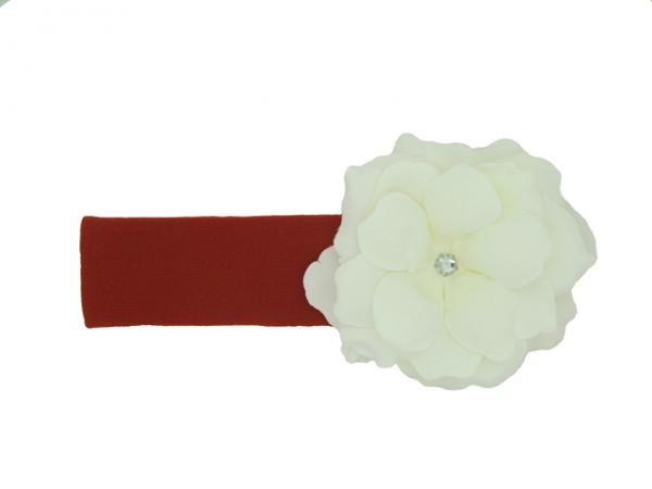 Red Soft Headband with White Small Rose