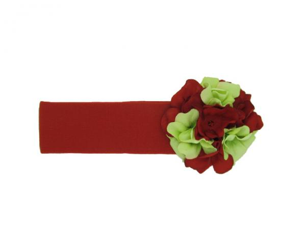 Red Soft Headband with Christmas Small Geraniums
