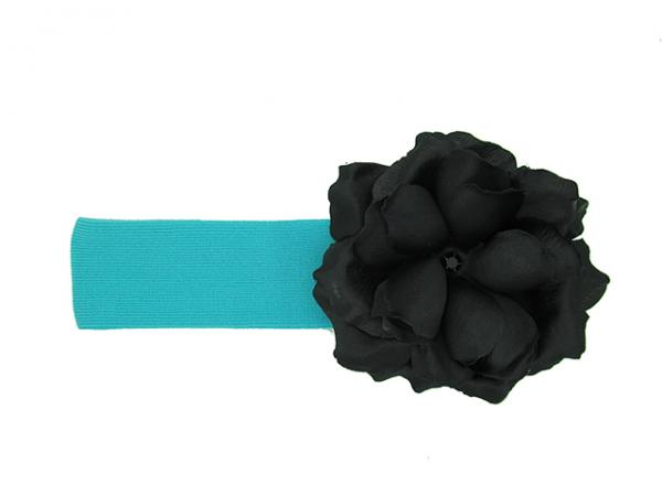 Teal Soft Headband with Black Small Rose