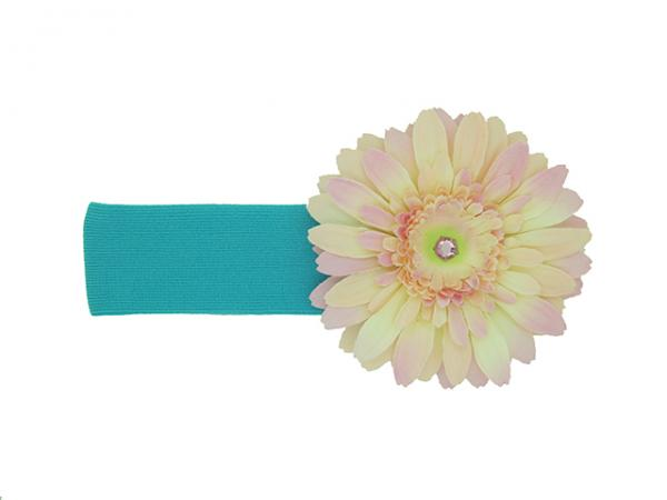 Teal Soft Headband with Pale Pink Daisy
