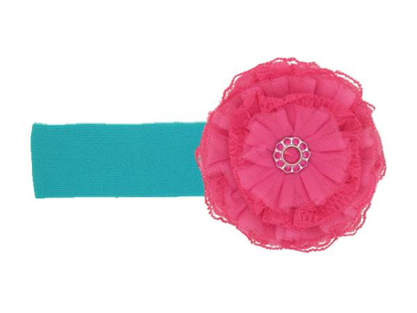 Teal Soft Headband with Raspberry Lace Rose