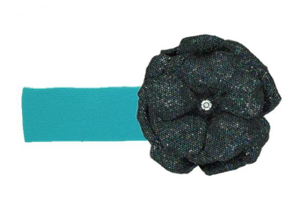 Teal Soft Headband with Sequins Black Rose