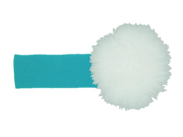 Teal Soft Headband with White Small Regular Marabou