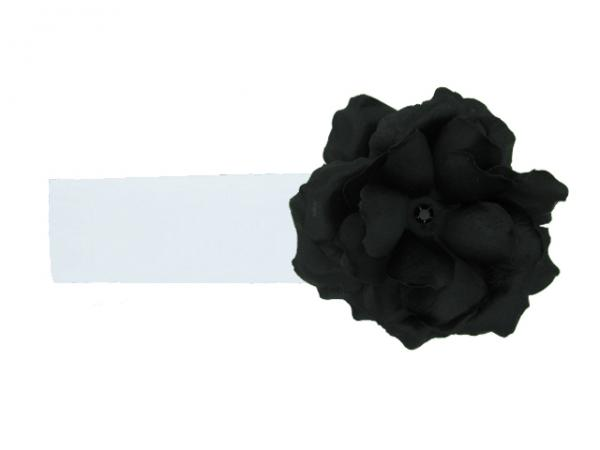 White Soft Headband with Black Small Rose