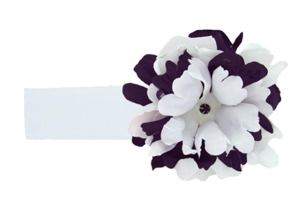 White Soft Headband with Black White Small Peony