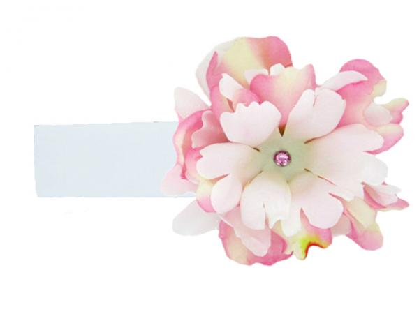 White Soft Headband with Pink White Small Peony