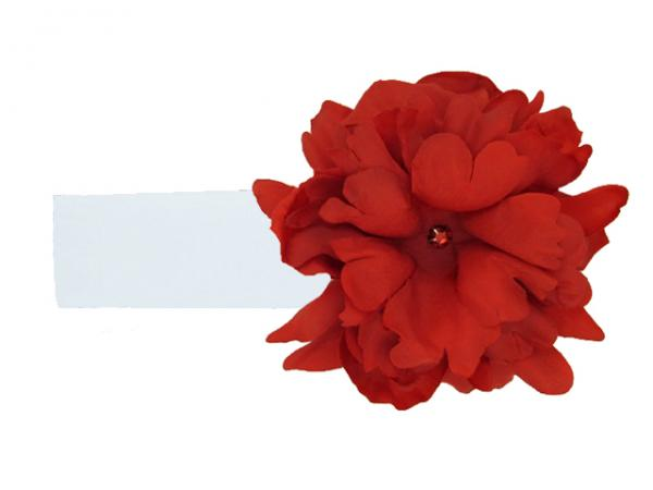 White Soft Headband with Red Small Peony