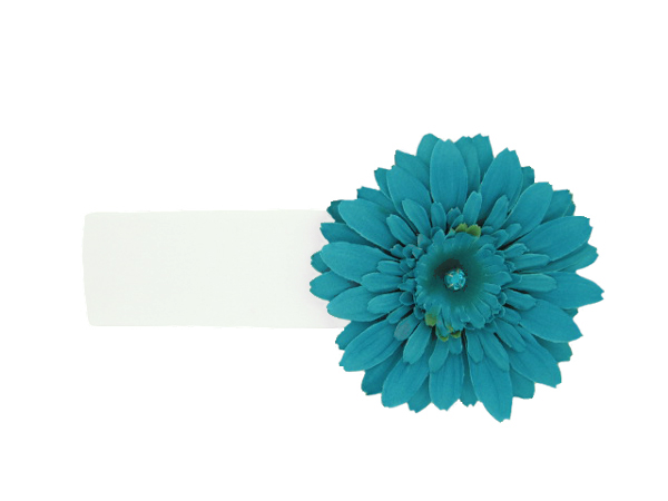 White Soft Headband with Teal Daisy