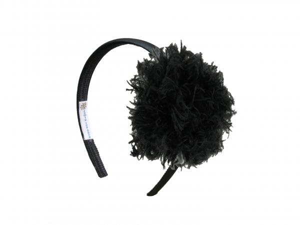 Black Hard Headband with Black Large Curly Marabou