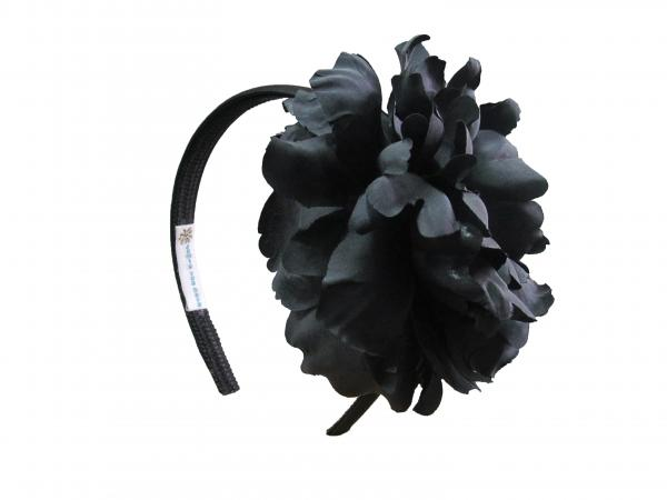 Black Hard Headband with Black Large Peony