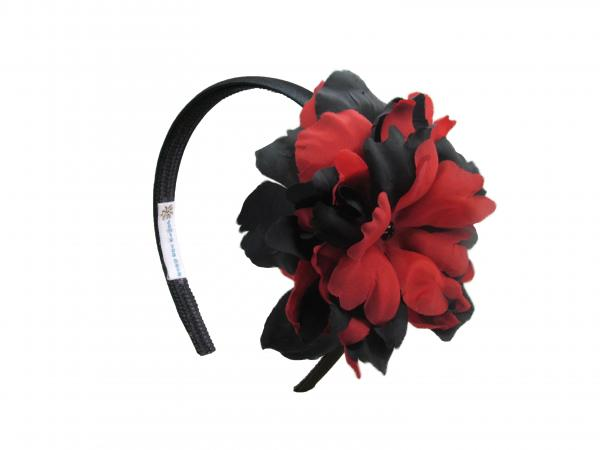 Black Hard Headband with Black Red Large Peony