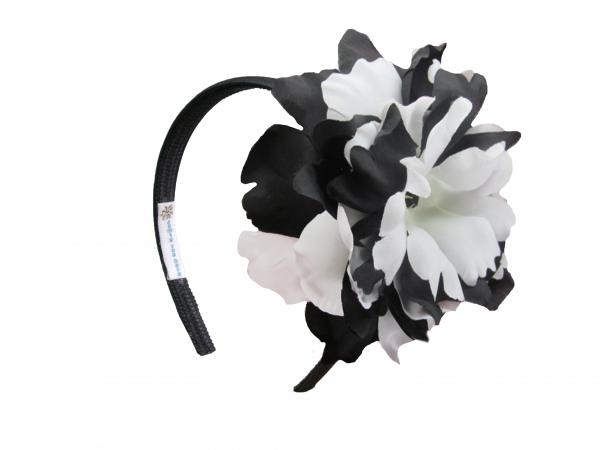 Black Hard Headband with Black White Large Peony